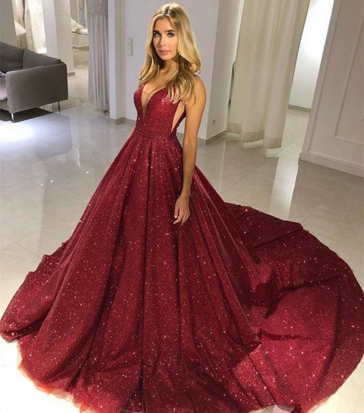 Awesome V-neck Sequined A-line Prom Dress_3