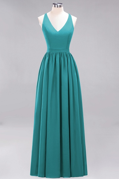 BM0152 Chiffon Lace V-Neck Sleeveless Straps Floor Length Bridesmaid Dress_31