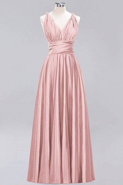 BM0143 Simple A-Line V-Neck Sleeveless Ruffles Floor Length Bridesmaid Dress_6