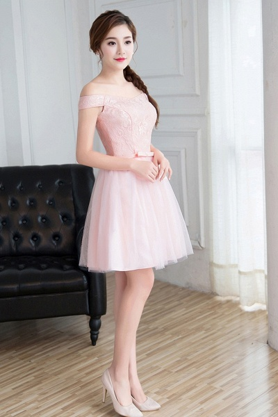 Modest Off-the-shoulder Tulle A-line Homecoming Dress_3