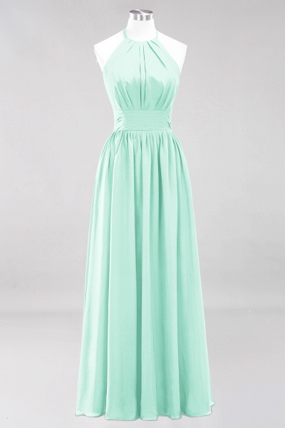 A-line Chiffon Appliques Halter Sleeveless Floor-Length Bridesmaid Dresses with Ruffles_34
