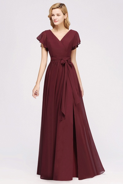 elegant A-line Chiffon V-Neck Short-Sleeves Floor-Length Bridesmaid Dresses with Bow Sash_3
