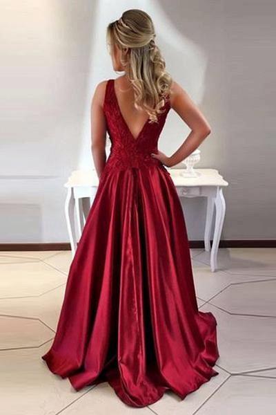 Glorious Jewel Stretch Satin A-line Prom Dress_3