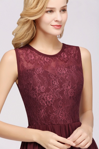 A-line Chiffon Lace Jewel Sleeveless Ruffles Floor-Length Bridesmaid Dresses with Appliques_5