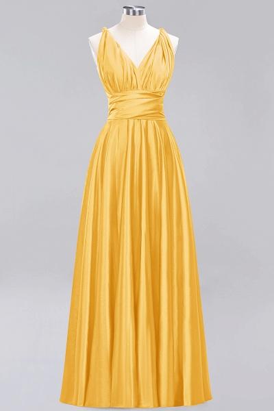 BM0143 Simple A-Line V-Neck Sleeveless Ruffles Floor Length Bridesmaid Dress_16
