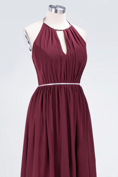 A-line Chiffon Halter Sleeveless Floor-Length Bridesmaid Dress with Beading Sash_5