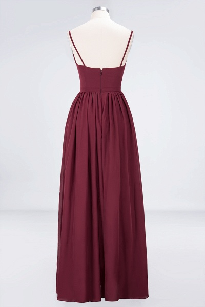 A-Line Chiffon Appliques Spaghetti-Straps Deep-V-Neck Sleeveless Floor-Length Bridesmaid Dress with Ruffles_10