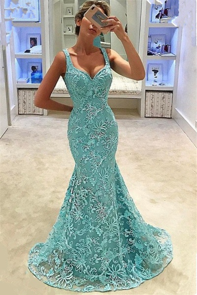 Chic Straps Tulle Mermaid Prom Dress_1