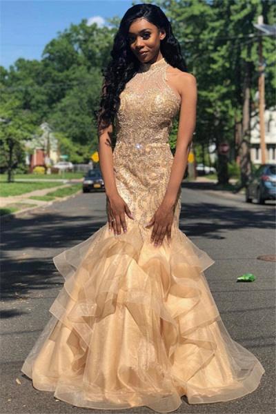 Graceful High Neck Organza Mermaid Prom Dress_1