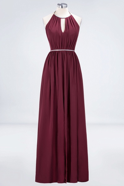 A-line Chiffon Halter Sleeveless Floor-Length Bridesmaid Dress with Beading Sash_1