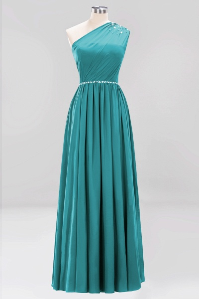 Elegant A-Line Burgundy Chiffon One-Shoulder Sleeveless Ruffles Floor-Length Bridesmaid Dresses with Beadings_31