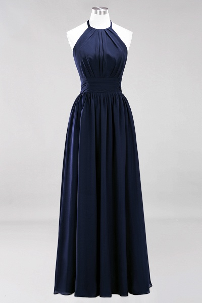 A-line Chiffon Appliques Halter Sleeveless Floor-Length Bridesmaid Dresses with Ruffles_27