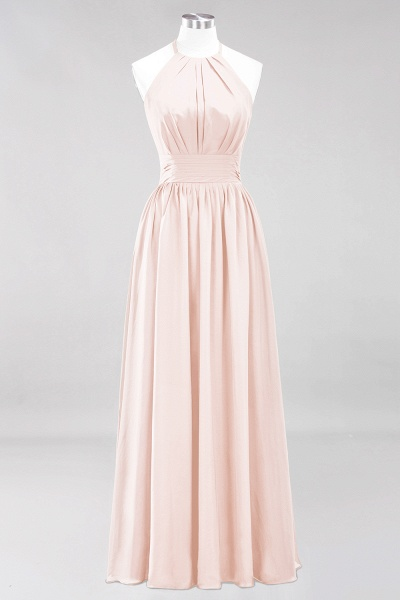 A-line Chiffon Appliques Halter Sleeveless Floor-Length Bridesmaid Dresses with Ruffles_5