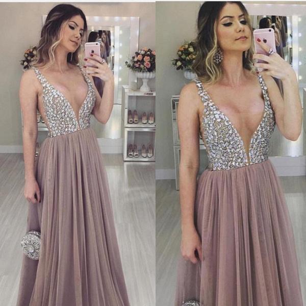 Marvelous V-neck Tulle A-line Prom Dress_1