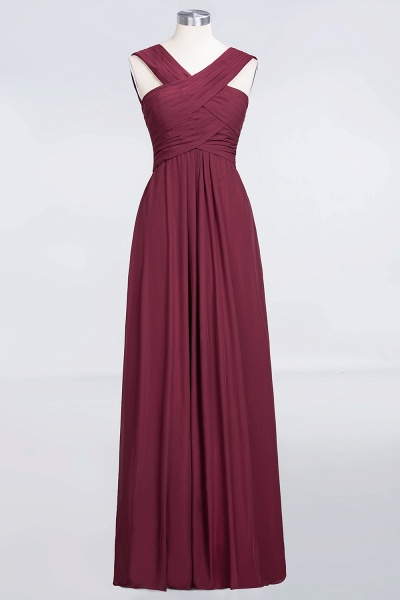 A-Line Chiffon V-Neck Straps Sleeveless Floor-Length Bridesmaid Dress with Ruffles_1