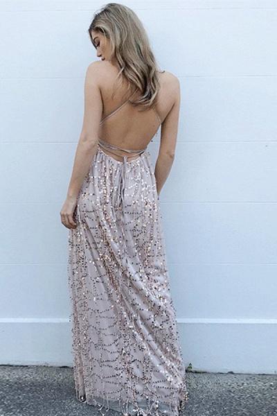Exquisite Spaghetti Straps Chiffon A-line Prom Dress_3
