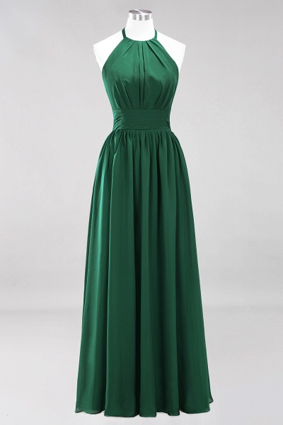 A-line Chiffon Appliques Halter Sleeveless Floor-Length Bridesmaid Dresses with Ruffles_30