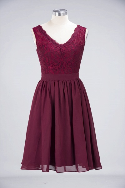 A-Line Chiffon Lace V-Neck Sleeveless Knee-Length Bridesmaid Dress with Ruffles_7