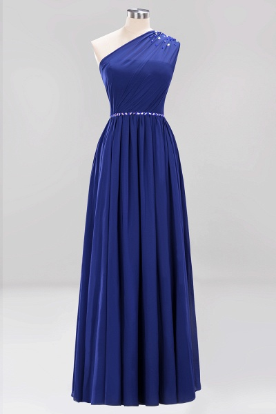 Elegant A-Line Burgundy Chiffon One-Shoulder Sleeveless Ruffles Floor-Length Bridesmaid Dresses with Beadings_25