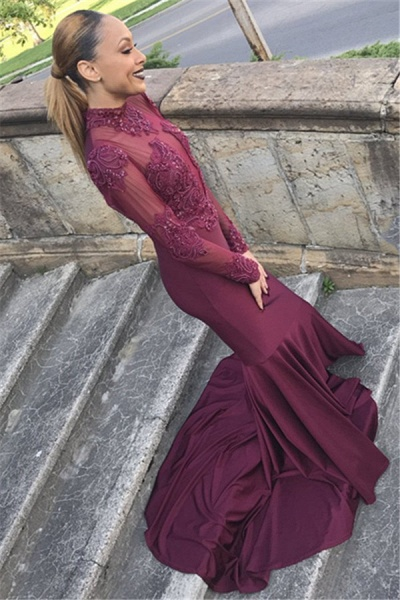 Fascinating High Neck Satin Mermaid Prom Dress_2