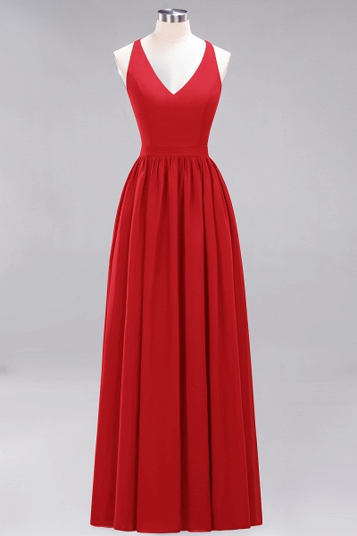 BM0152 Chiffon Lace V-Neck Sleeveless Straps Floor Length Bridesmaid Dress_8