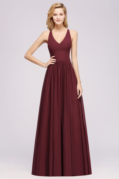 BM0152 Chiffon Lace V-Neck Sleeveless Straps Floor Length Bridesmaid Dress_37