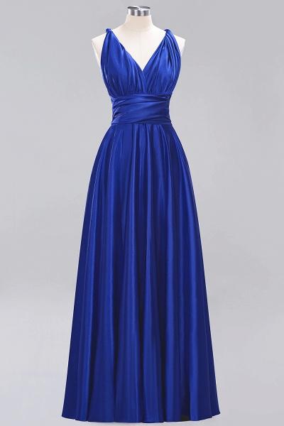 BM0143 Simple A-Line V-Neck Sleeveless Ruffles Floor Length Bridesmaid Dress_25