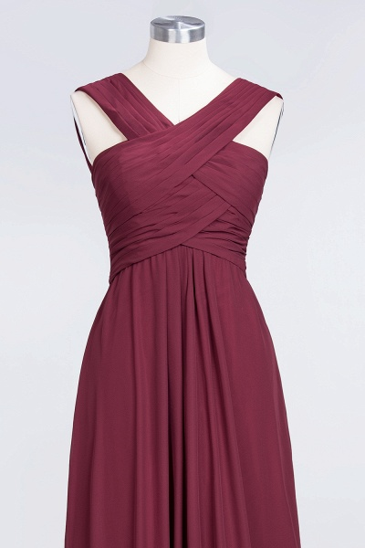 A-Line Chiffon V-Neck Straps Sleeveless Floor-Length Bridesmaid Dress with Ruffles_4