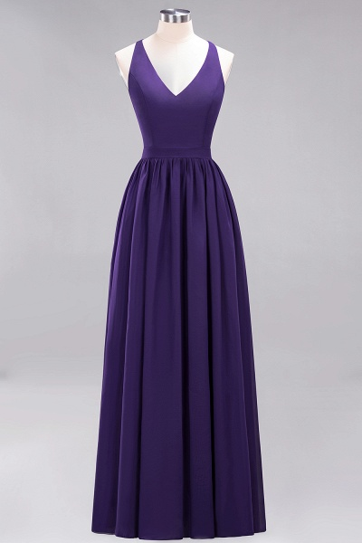 BM0152 Chiffon Lace V-Neck Sleeveless Straps Floor Length Bridesmaid Dress_18