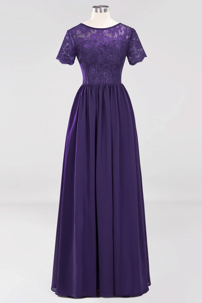 A-line Chiffon Lace Jewel Short-Sleeves Floor-length Bridesmaid Dress_18