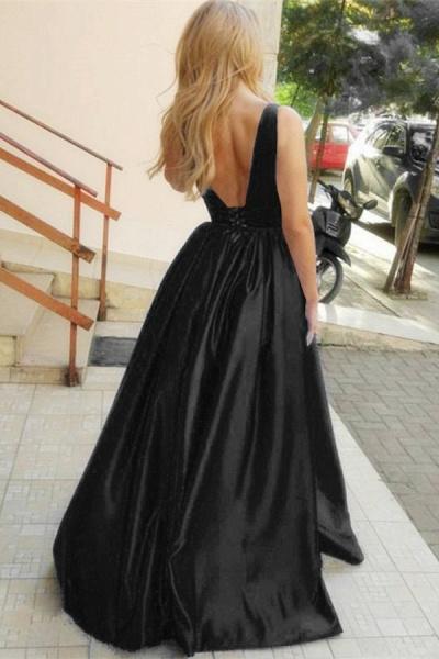 Beautiful Straps Satin A-line Prom Dress_2