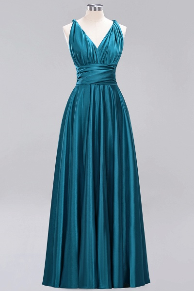 BM0143 Simple A-Line V-Neck Sleeveless Ruffles Floor Length Bridesmaid Dress_26