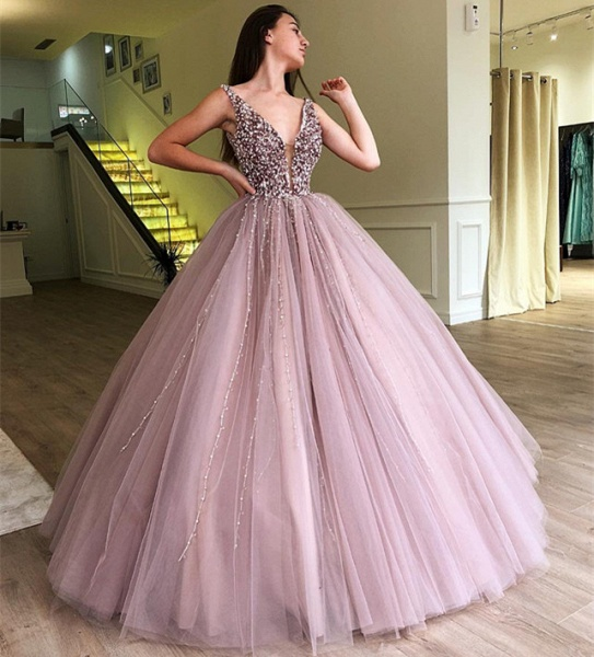 Amazing Straps Tulle Ball Gown Prom Dress_4