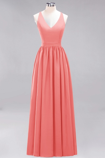 BM0152 Chiffon Lace V-Neck Sleeveless Straps Floor Length Bridesmaid Dress_7