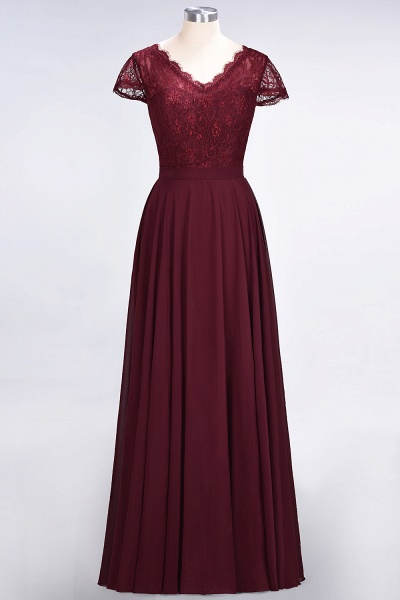 A-Line Chiffon Lace V-Neck Cap-Sleeves Floor-Length Bridesmaid Dress_9