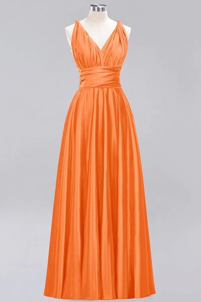 BM0143 Simple A-Line V-Neck Sleeveless Ruffles Floor Length Bridesmaid Dress_15
