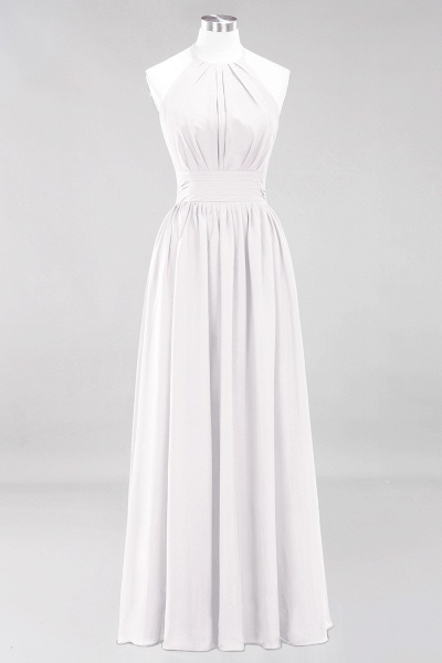 A-line Chiffon Appliques Halter Sleeveless Floor-Length Bridesmaid Dresses with Ruffles_1