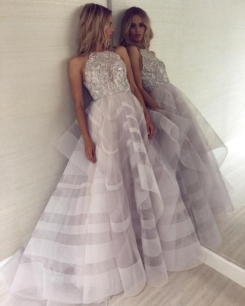 Fabulous Halter Organza A-line Prom Dress_4