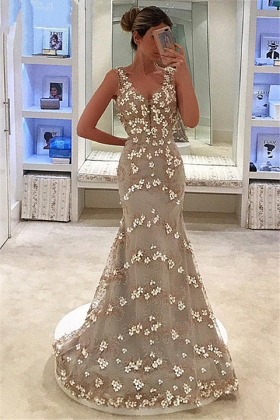 Fascinating Straps Tulle Mermaid Prom Dress_1