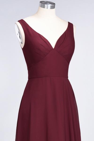 A-Line Chiffon V-Neck Straps Sleeveless Ruffles Floor-Length Bridesmaid Dress with Open Back_39
