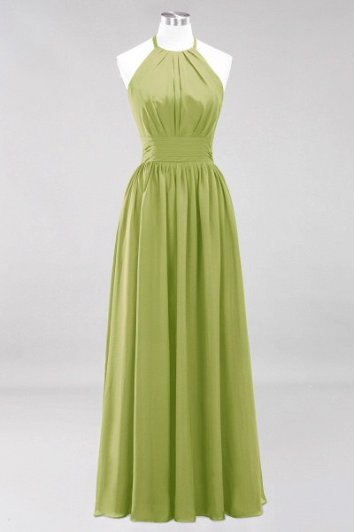 A-line Chiffon Appliques Halter Sleeveless Floor-Length Bridesmaid Dresses with Ruffles_32