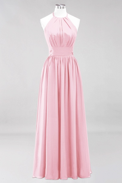 A-line Chiffon Appliques Halter Sleeveless Floor-Length Bridesmaid Dresses with Ruffles_4