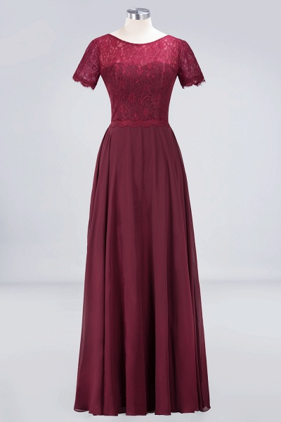 A-Line Chiffon Lace Round-Neck Short-Sleeves Floor-Length Bridesmaid Dress_9