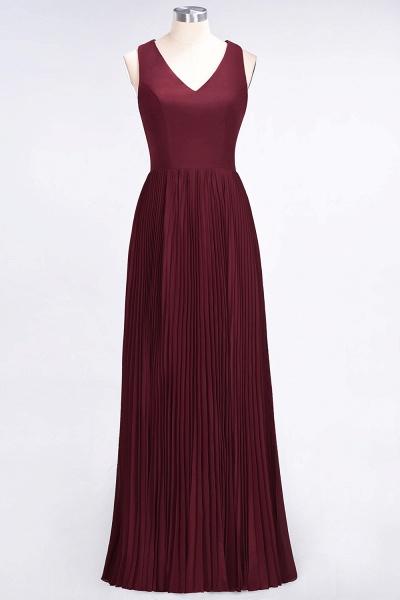 A-Line Satin Chiffon V-Neck Sleeveless Floor-Length Bridesmaid Dress with Ruffles_9