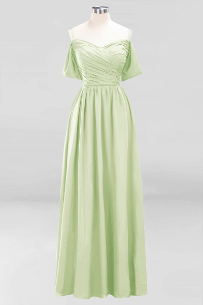 A-Line Chiffon V-Neck Spaghetti Straps Short-Sleeves Floor-Length Bridesmaid Dresses with Ruffles_33