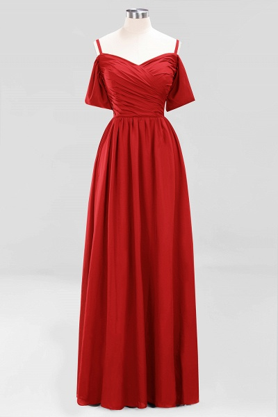 A-Line Chiffon V-Neck Spaghetti Straps Short-Sleeves Floor-Length Bridesmaid Dresses with Ruffles_8