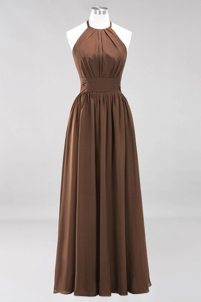 A-line Chiffon Appliques Halter Sleeveless Floor-Length Bridesmaid Dresses with Ruffles_12
