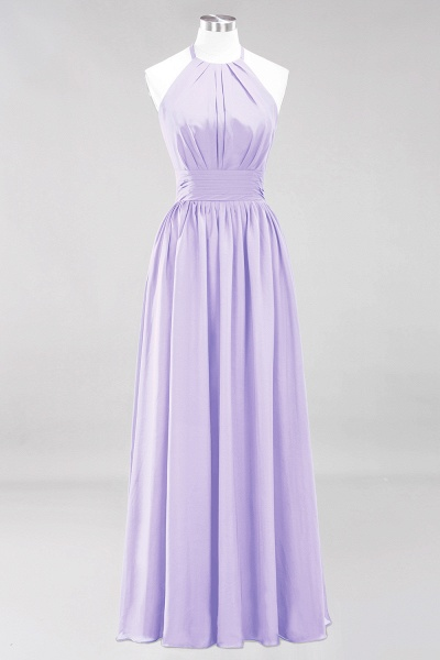 A-line Chiffon Appliques Halter Sleeveless Floor-Length Bridesmaid Dresses with Ruffles_20