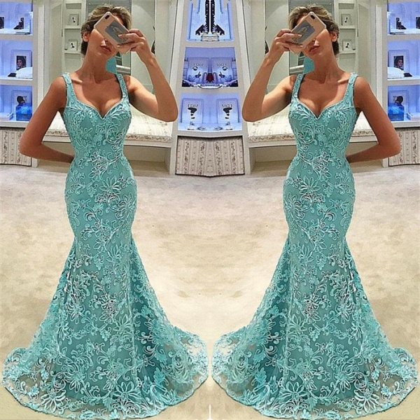 Chic Straps Tulle Mermaid Prom Dress_3
