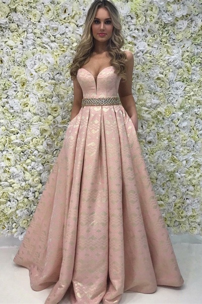 Latest Sweetheart Satin A-line Prom Dress_1